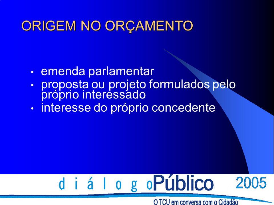 ORIGEM NO ORÇAMENTO emenda parlamentar