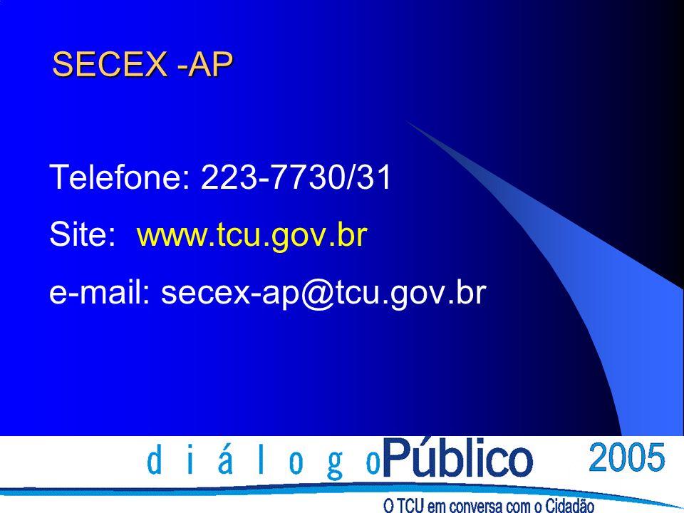 SECEX -AP Telefone: 223-7730/31 Site: www.tcu.gov.br e-mail: secex-ap@tcu.gov.br