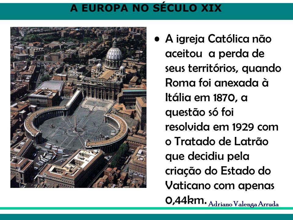 A igreja Católica não aceitou a perda de seus territórios, quando Roma foi anexada à Itália em 1870, a questão só foi resolvida em 1929 com o Tratado de Latrão que decidiu pela criação do Estado do Vaticano com apenas 0,44km.