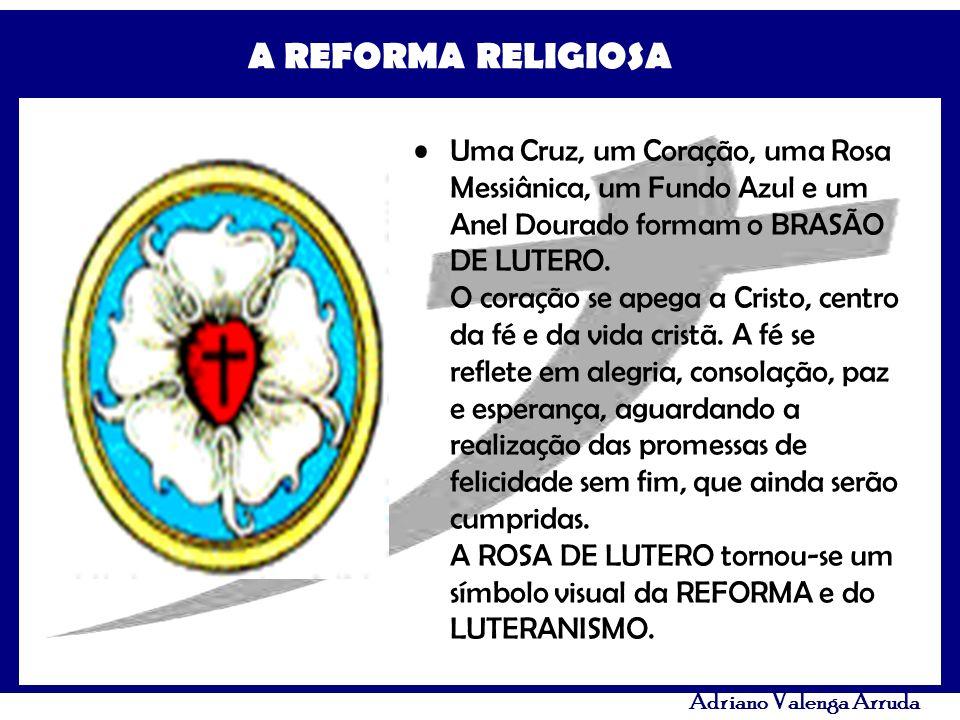 Uma Cruz, um Coração, uma Rosa Messiânica, um Fundo Azul e um Anel Dourado formam o BRASÃO DE LUTERO.