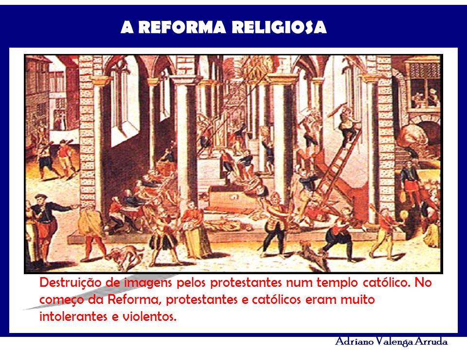 Destruição de imagens pelos protestantes num templo católico