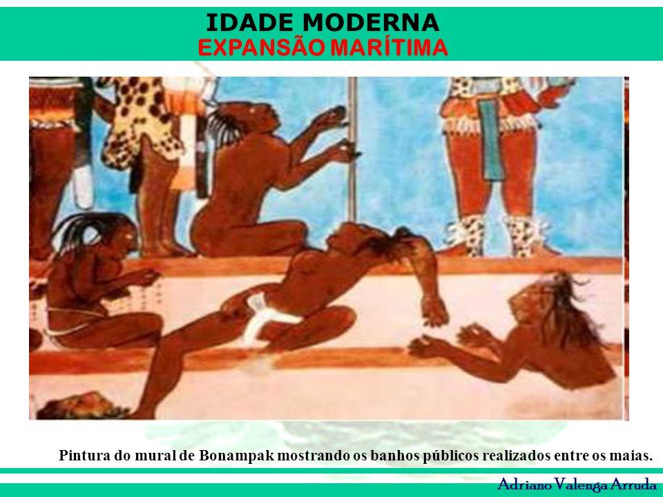 Pintura do mural de Bonampak mostrando os banhos públicos realizados entre os maias.