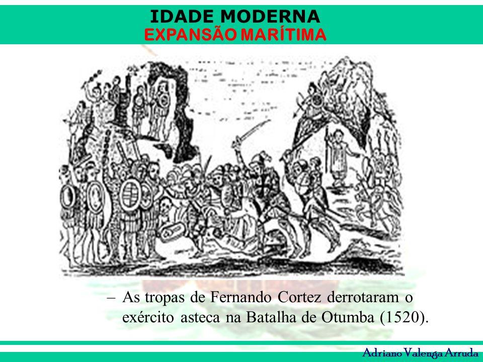 As tropas de Fernando Cortez derrotaram o exército asteca na Batalha de Otumba (1520).