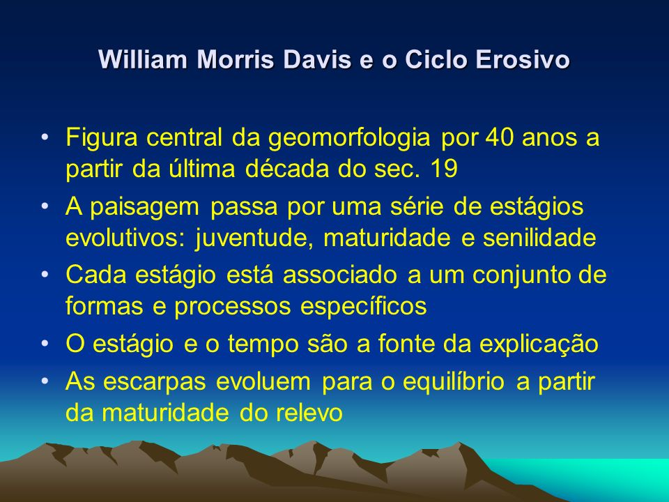 William Morris Davis e o Ciclo Erosivo