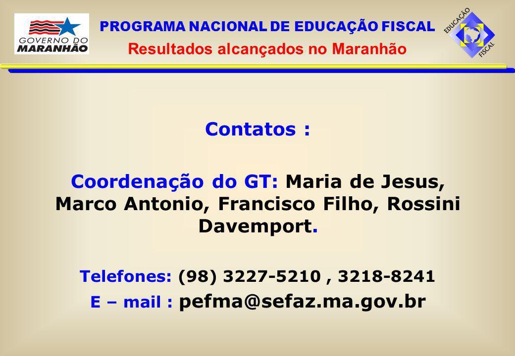 Resultados alcançados no Maranhão E – mail : pefma@sefaz.ma.gov.br