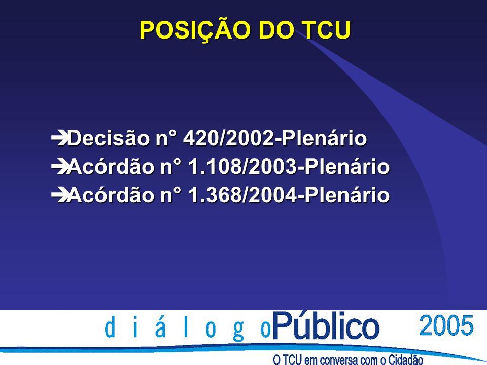 POSIÇÃO DO TCU Decisão n° 420/2002-Plenário