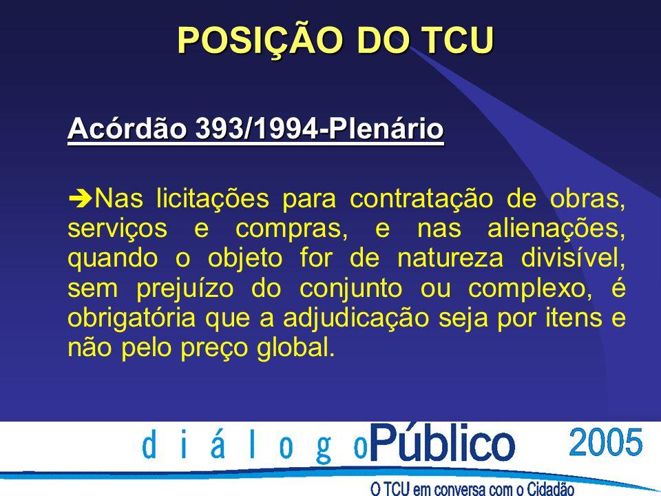 POSIÇÃO DO TCU Acórdão 393/1994-Plenário