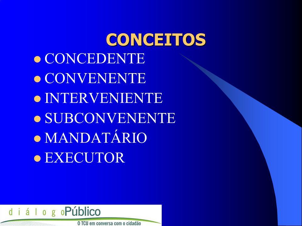 CONCEITOS CONCEDENTE CONVENENTE INTERVENIENTE SUBCONVENENTE MANDATÁRIO