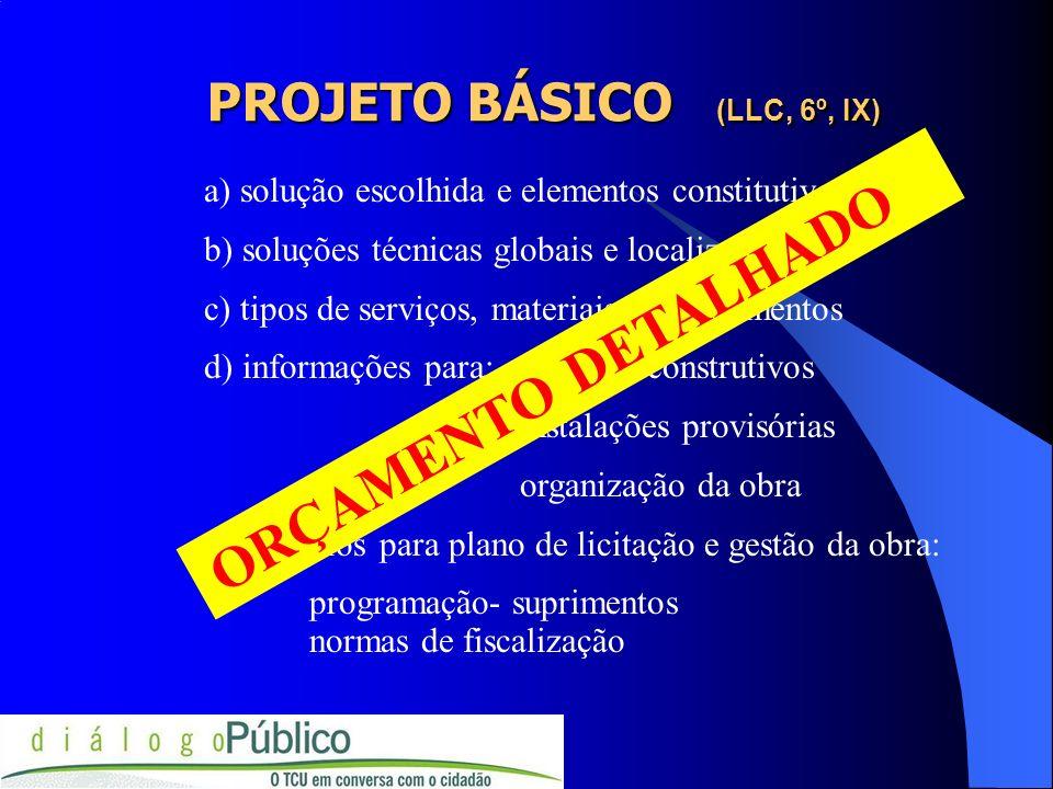 PROJETO BÁSICO (LLC, 6º, IX)