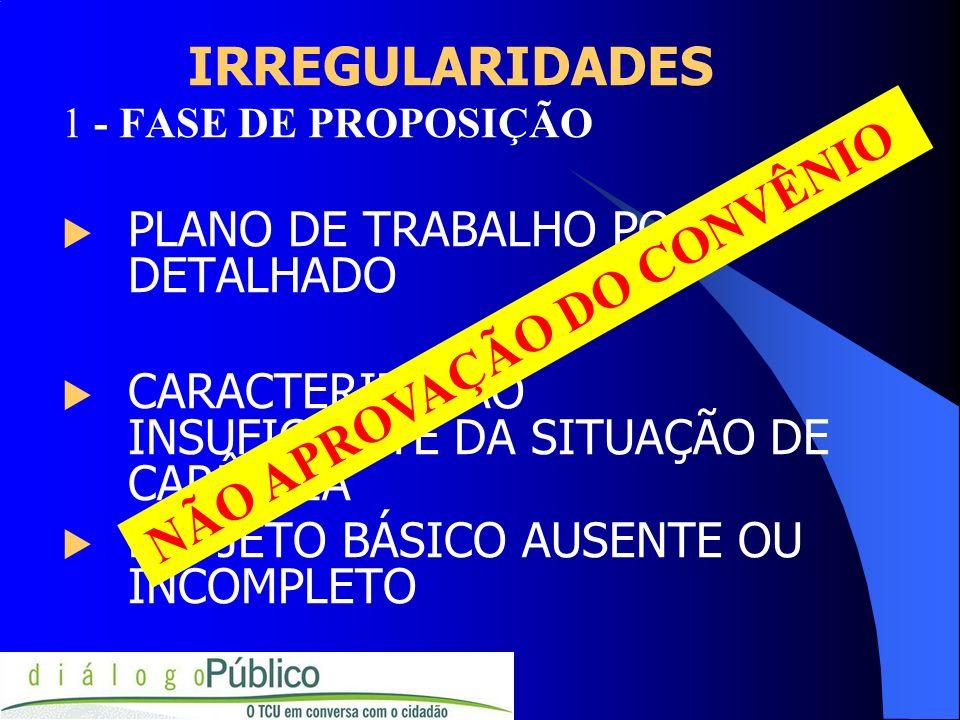 IRREGULARIDADES PLANO DE TRABALHO POUCO DETALHADO