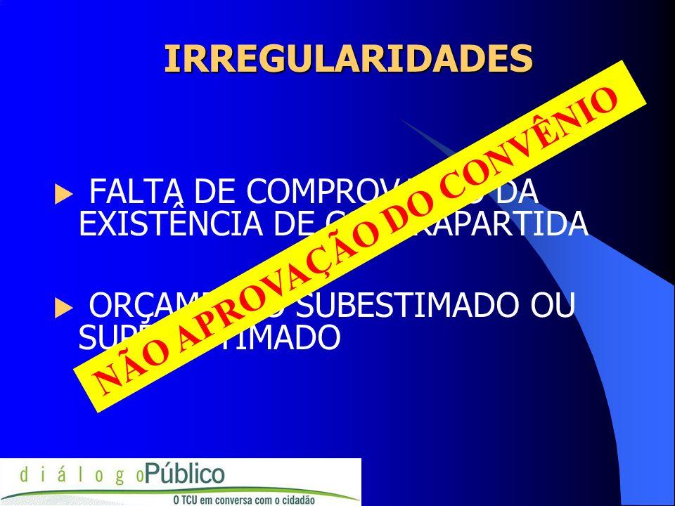 IRREGULARIDADES FALTA DE COMPROVAÇÃO DA EXISTÊNCIA DE CONTRAPARTIDA