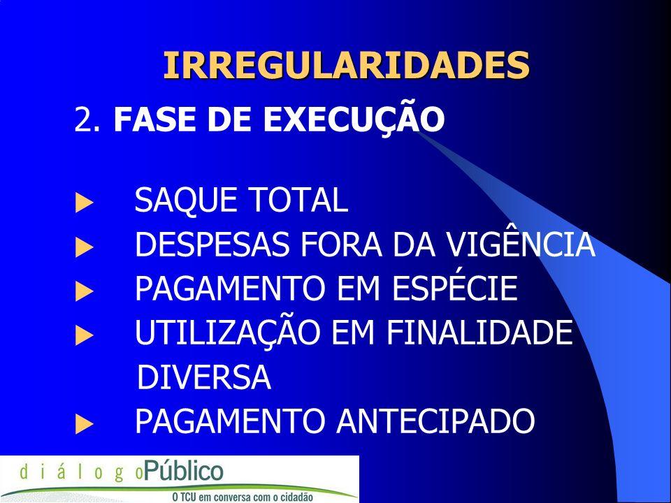 IRREGULARIDADES 2. FASE DE EXECUÇÃO SAQUE TOTAL