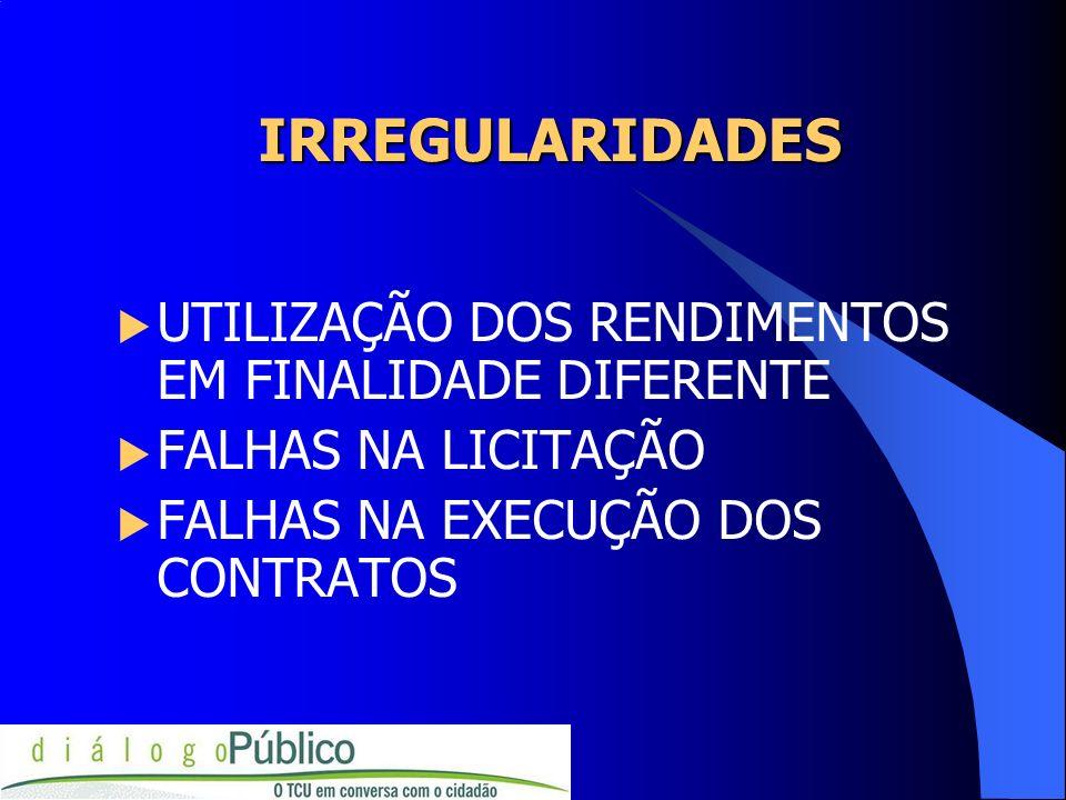 IRREGULARIDADES UTILIZAÇÃO DOS RENDIMENTOS EM FINALIDADE DIFERENTE