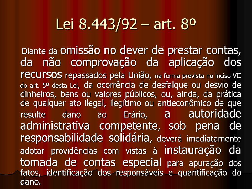 Lei 8.443/92 – art. 8º
