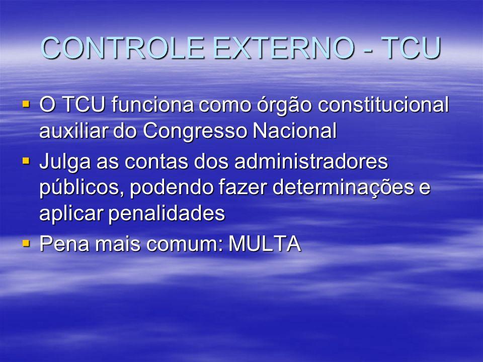 CONTROLE EXTERNO - TCU O TCU funciona como órgão constitucional auxiliar do Congresso Nacional.