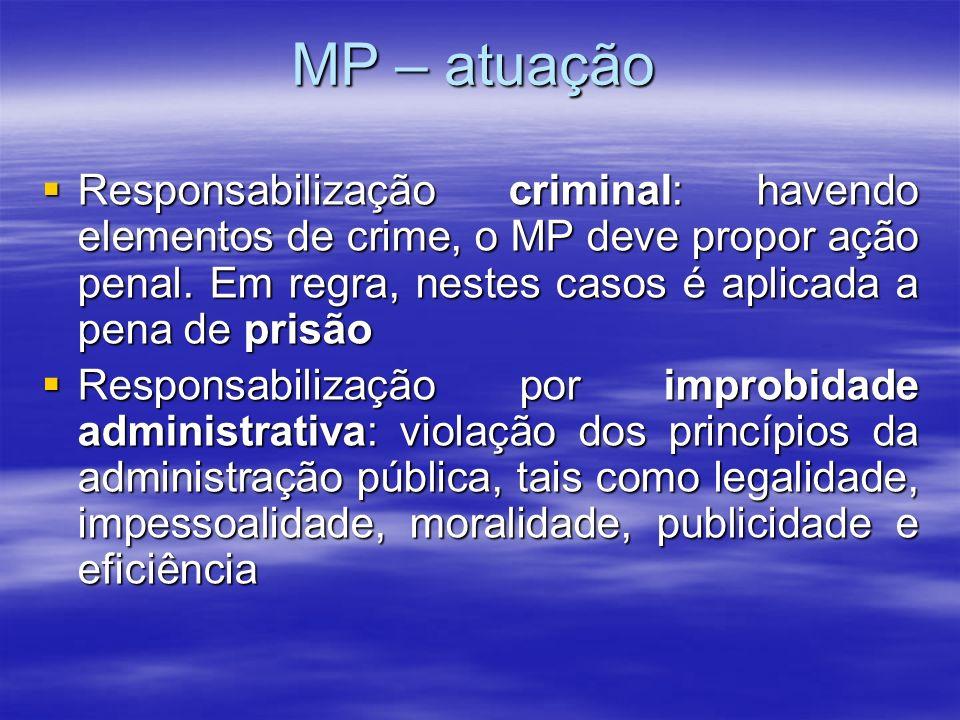 MP – atuação Responsabilização criminal: havendo elementos de crime, o MP deve propor ação penal. Em regra, nestes casos é aplicada a pena de prisão.