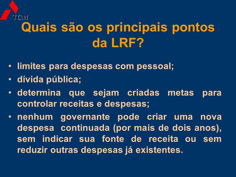 Quais são os principais pontos da LRF