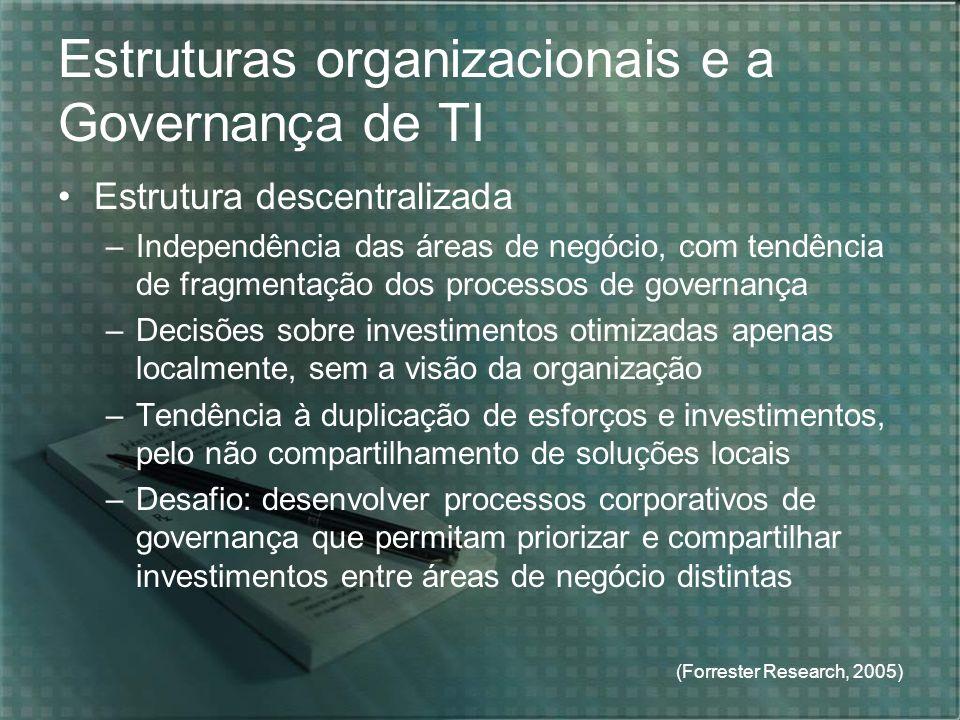 Estruturas organizacionais e a Governança de TI