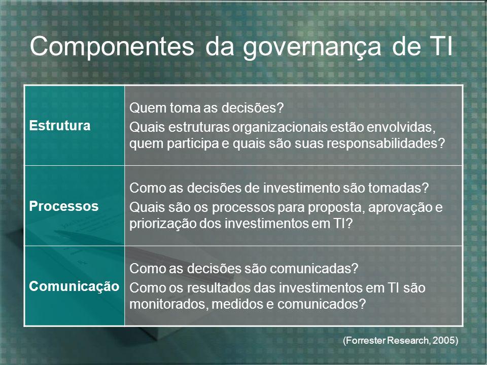 Componentes da governança de TI