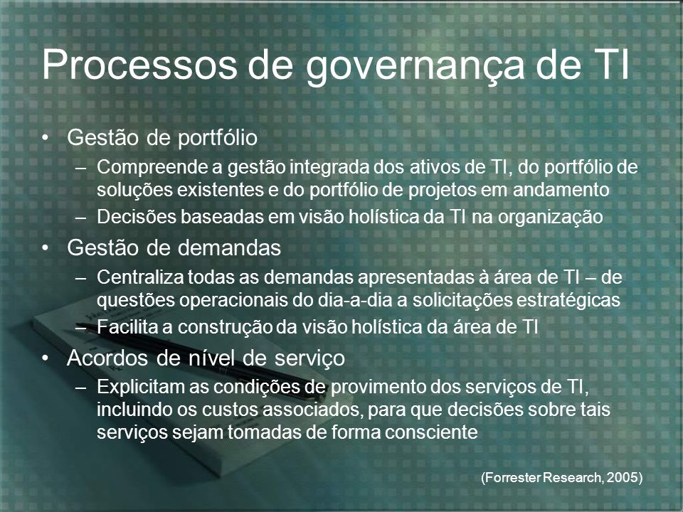 Processos de governança de TI