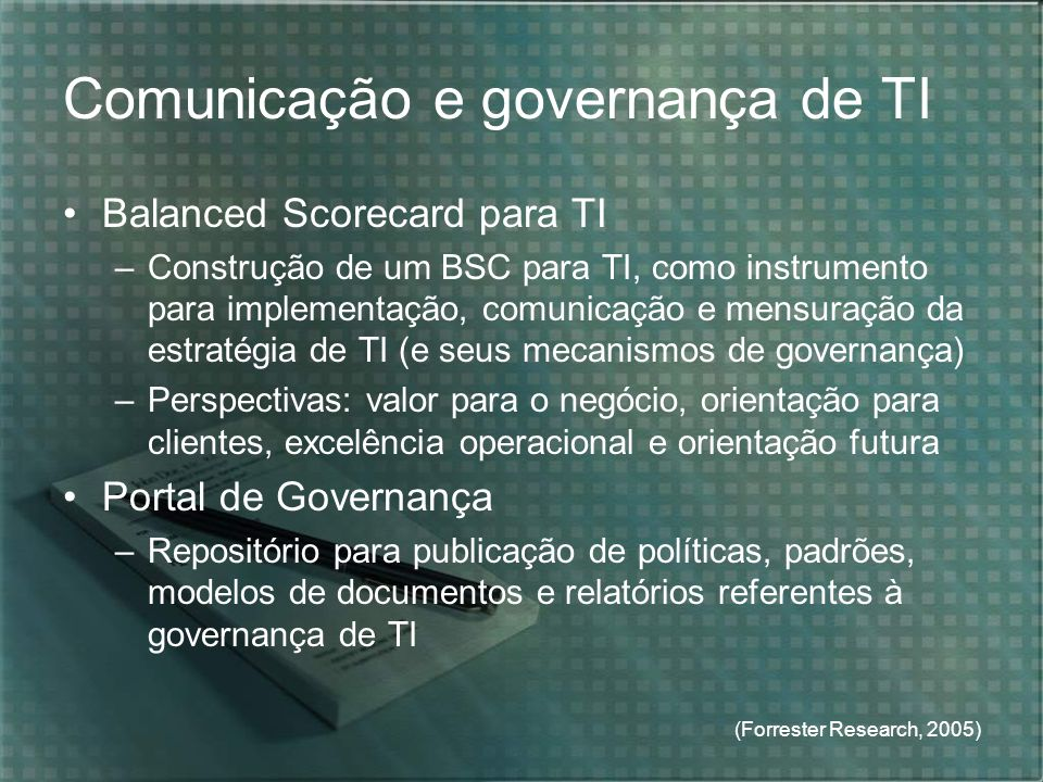 Comunicação e governança de TI