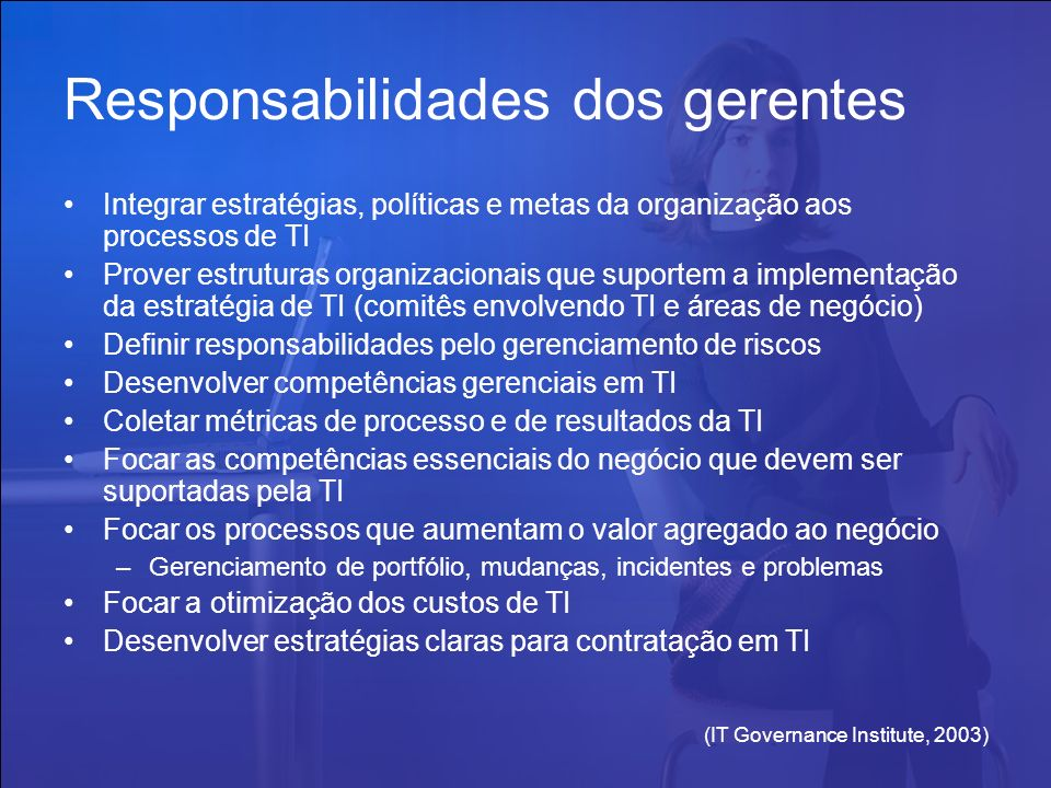 Responsabilidades dos gerentes