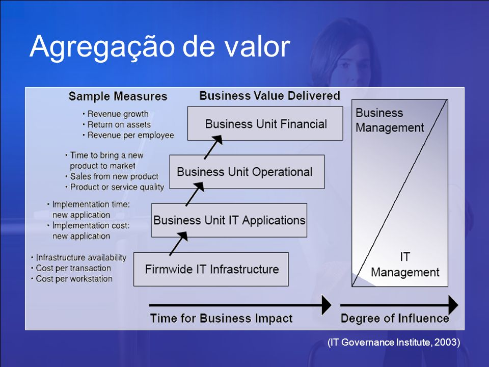 Agregação de valor (IT Governance Institute, 2003)