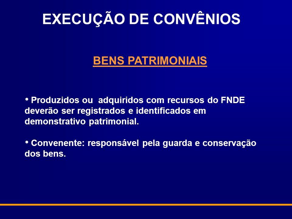 EXECUÇÃO DE CONVÊNIOS BENS PATRIMONIAIS