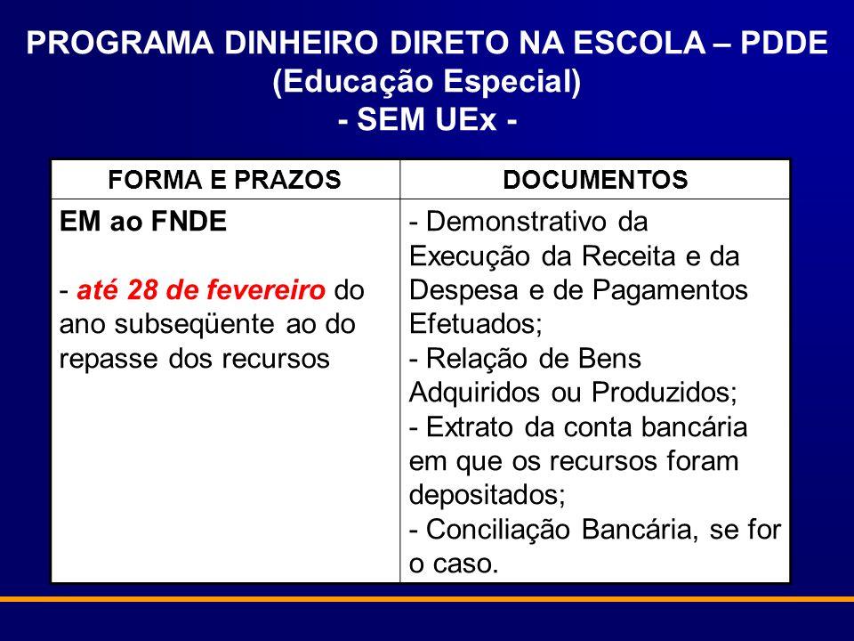 PROGRAMA DINHEIRO DIRETO NA ESCOLA – PDDE (Educação Especial) - SEM UEx -