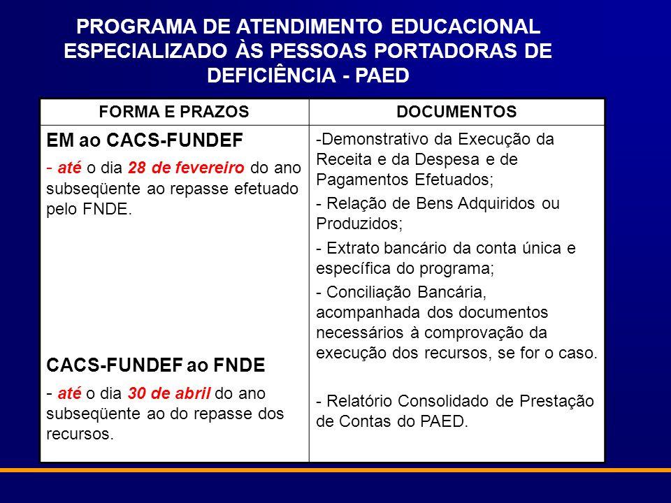 PROGRAMA DE ATENDIMENTO EDUCACIONAL ESPECIALIZADO ÀS PESSOAS PORTADORAS DE DEFICIÊNCIA - PAED