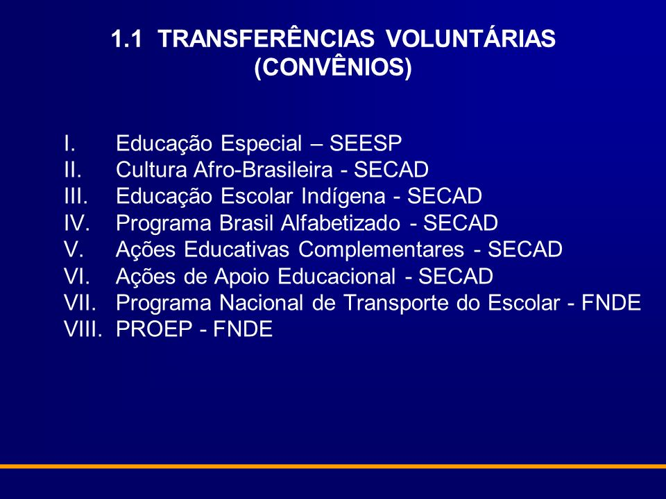 1.1 TRANSFERÊNCIAS VOLUNTÁRIAS (CONVÊNIOS)