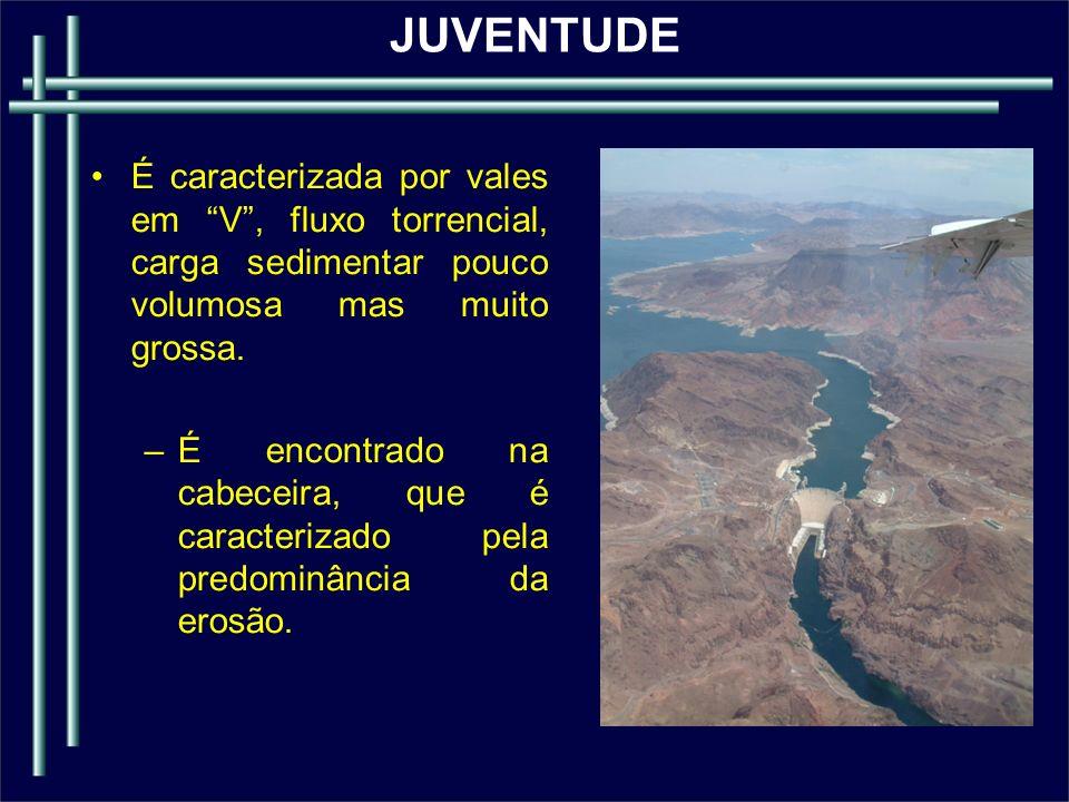 JUVENTUDE É caracterizada por vales em V , fluxo torrencial, carga sedimentar pouco volumosa mas muito grossa.