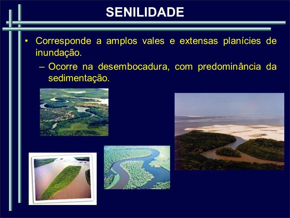 SENILIDADE Corresponde a amplos vales e extensas planícies de inundação.
