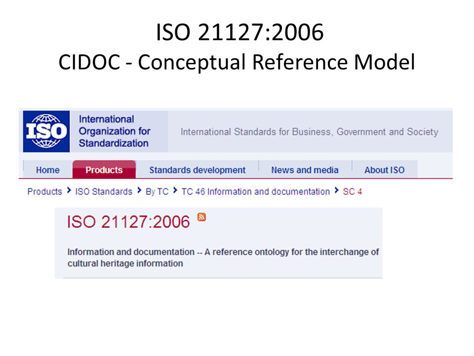 ISO 21127:2006 CIDOC - Conceptual Reference Model