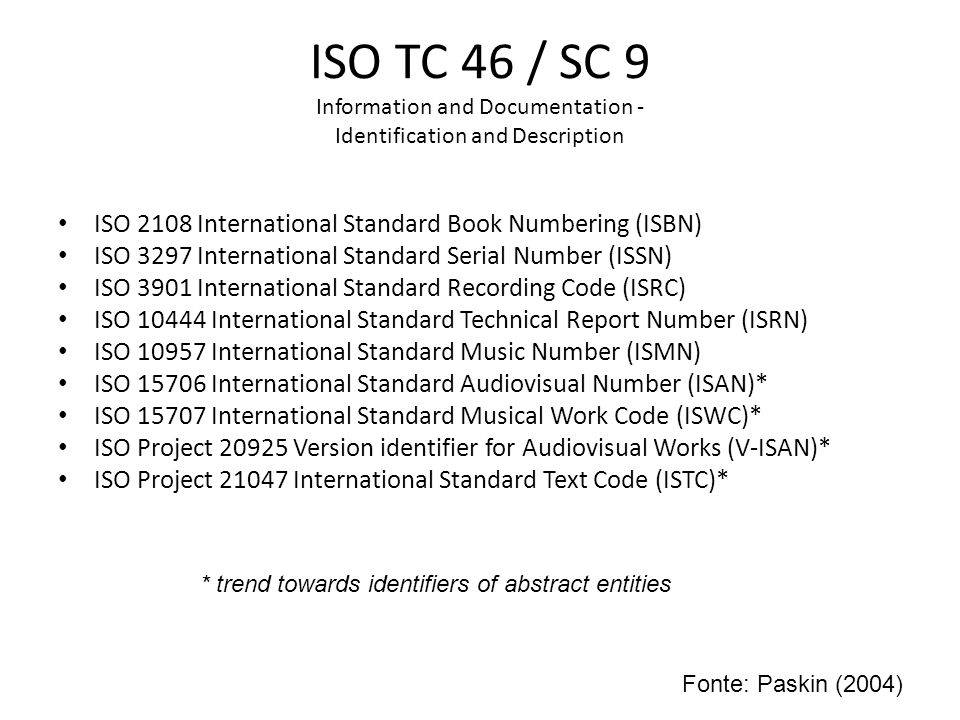 ISO TC 46 / SC 9 Information and Documentation - Identification and Description