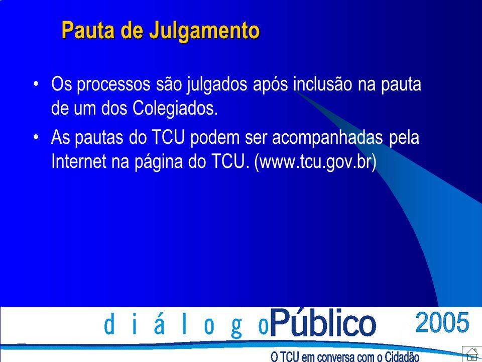 Pauta de Julgamento Os processos são julgados após inclusão na pauta de um dos Colegiados.