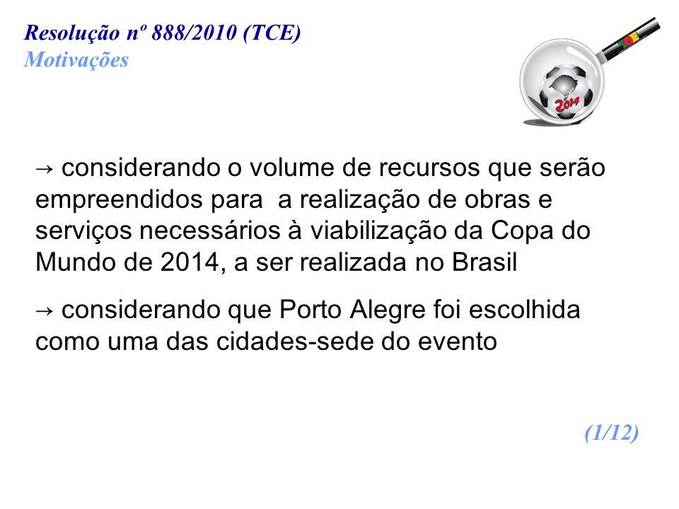 Resolução nº 888/2010 (TCE) Motivações.