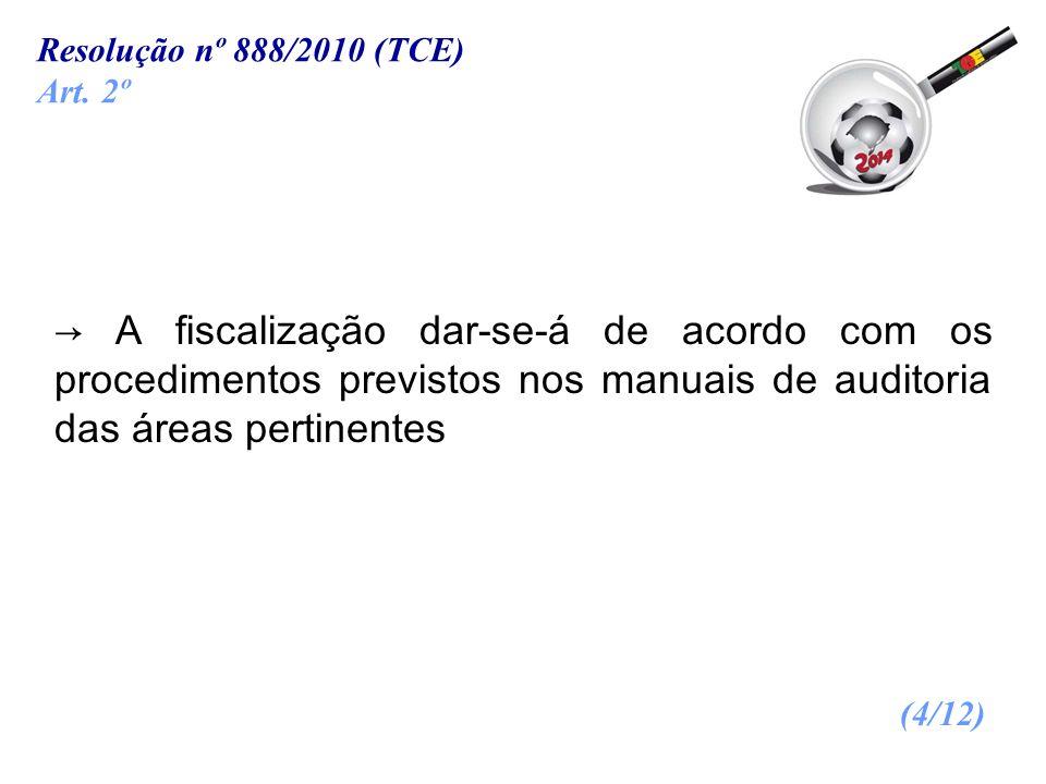 Resolução nº 888/2010 (TCE) Art. 2º.