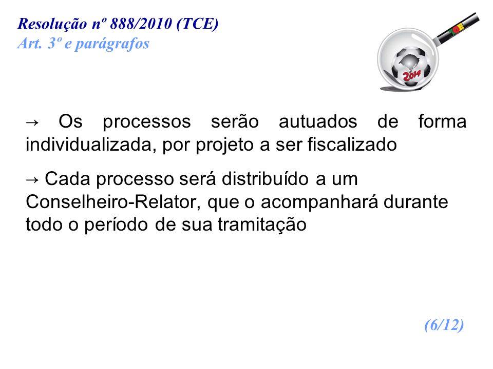 Resolução nº 888/2010 (TCE) Art. 3º e parágrafos. → Os processos serão autuados de forma individualizada, por projeto a ser fiscalizado.