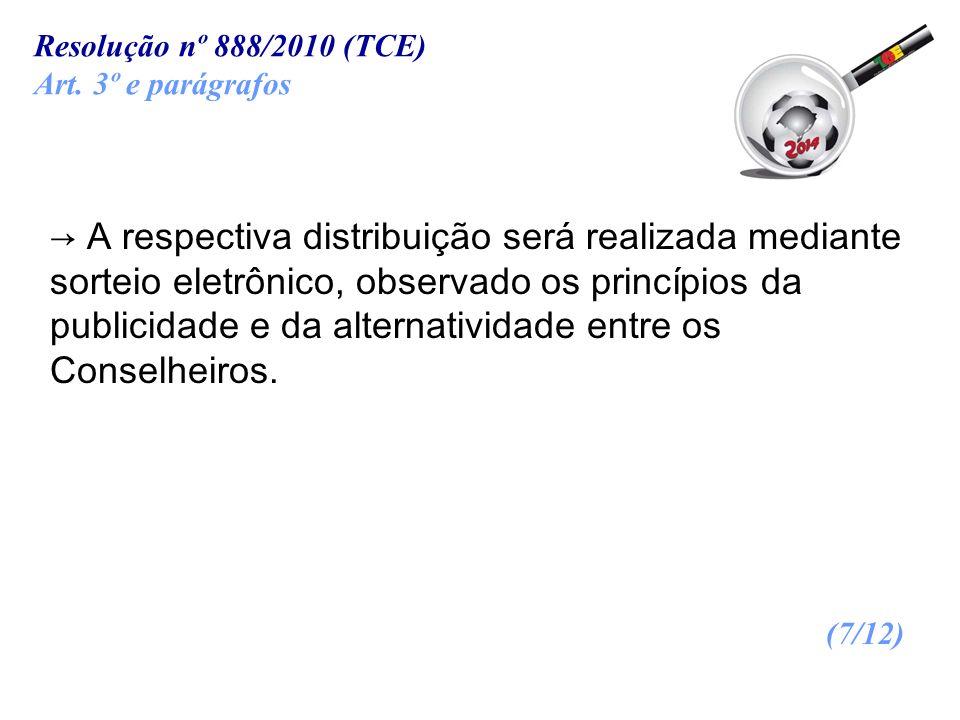 Resolução nº 888/2010 (TCE)Art. 3º e parágrafos.