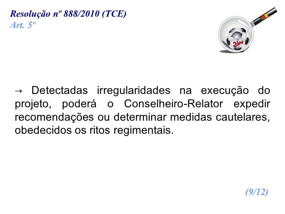 Resolução nº 888/2010 (TCE) Art. 5º.