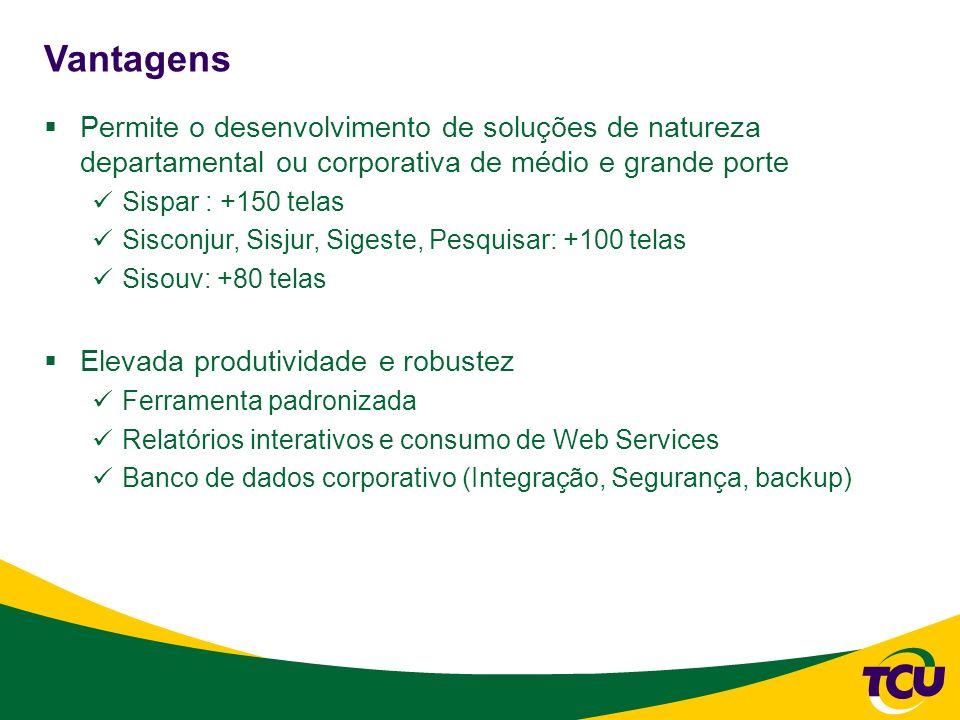 Vantagens Permite o desenvolvimento de soluções de natureza departamental ou corporativa de médio e grande porte.