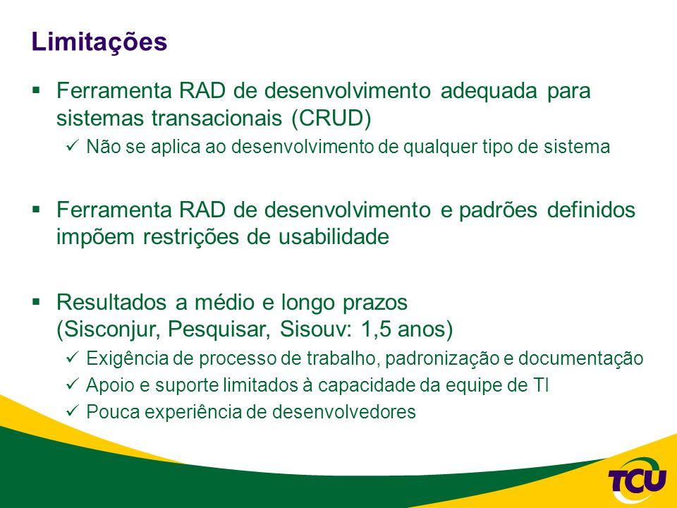 Limitações Ferramenta RAD de desenvolvimento adequada para sistemas transacionais (CRUD)