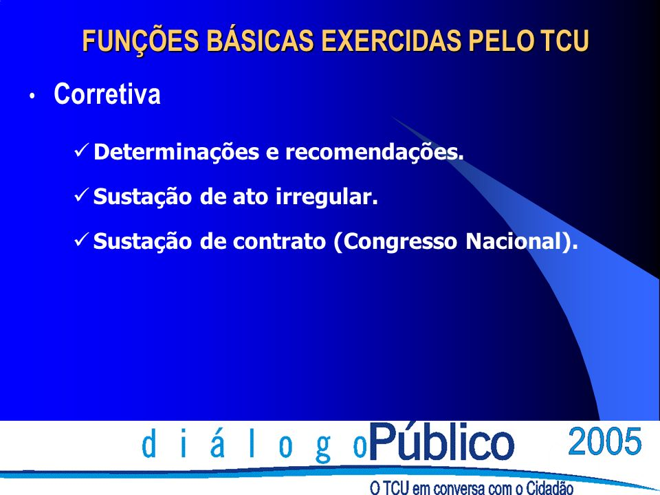 FUNÇÕES BÁSICAS EXERCIDAS PELO TCU