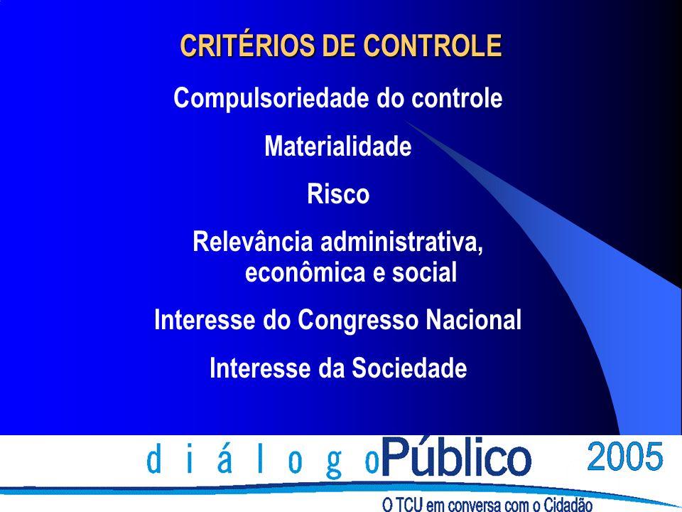 CRITÉRIOS DE CONTROLE Compulsoriedade do controle Materialidade Risco