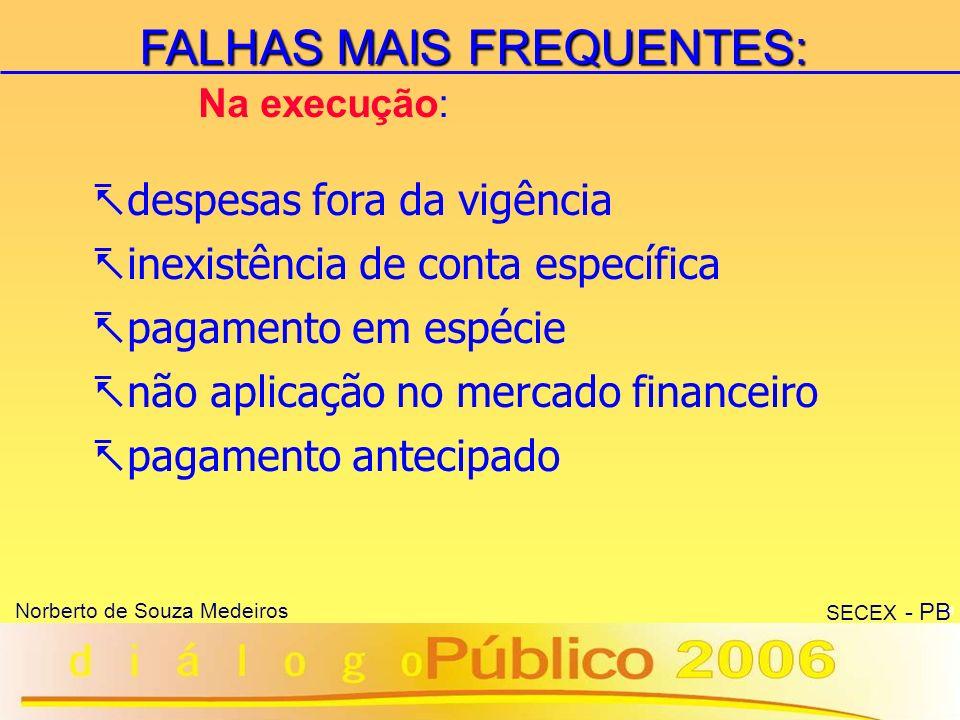 FALHAS MAIS FREQUENTES: