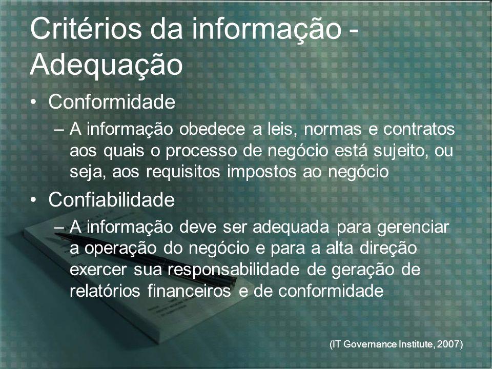 Critérios da informação - Adequação