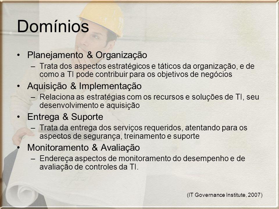 Domínios Planejamento & Organização Aquisição & Implementação