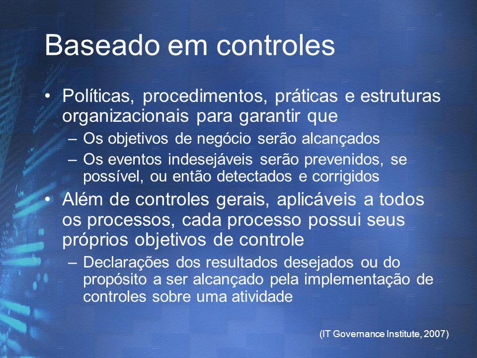 Baseado em controles Políticas, procedimentos, práticas e estruturas organizacionais para garantir que.