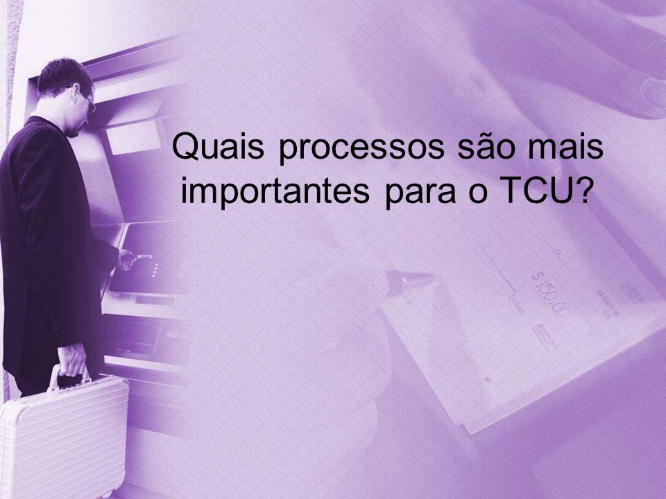 Quais processos são mais importantes para o TCU